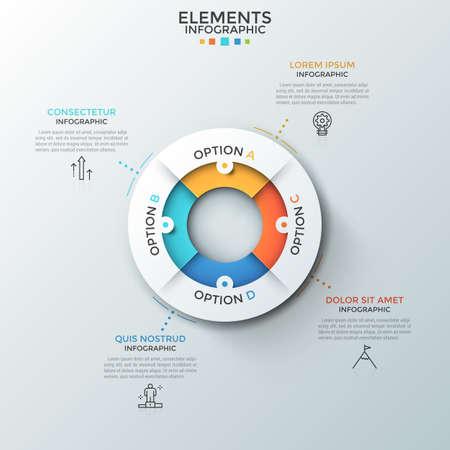 Grafico a torta circolare diviso in 4 pezzi colorati, simboli a linee sottili e caselle di testo. Concetto di quattro caratteristiche del processo aziendale. Layout di progettazione infografica creativa. Illustrazione vettoriale. Vettoriali