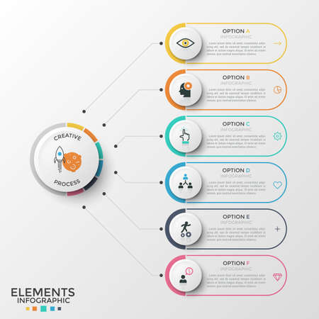 Six rounded elements with thin line icons and place for text inside connected to paper white circle. Concept of 6 features of business development. Infographic design template. Vector illustration.