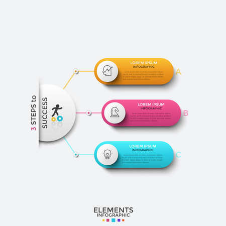 Paper white circle connected to 3 colorful elements with thin line icons and place for text inside. Concept of three features of successful startup. Infographic design template. Vector illustration. Ilustrace