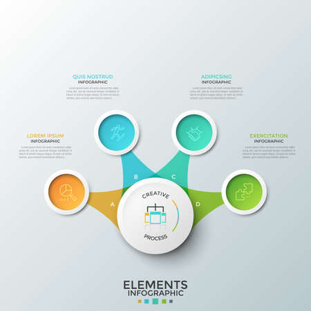 Four colorful round elements with thin line icons inside placed around central circle and connected to it. Concept of 4 features of business project. Infographic design layout. Vector illustration.