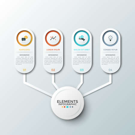 Four paper white elements with flat pictograms and place for description inside connected to main circle. Concept of diagram with 4 number options. Infographic design template. Vector illustration.