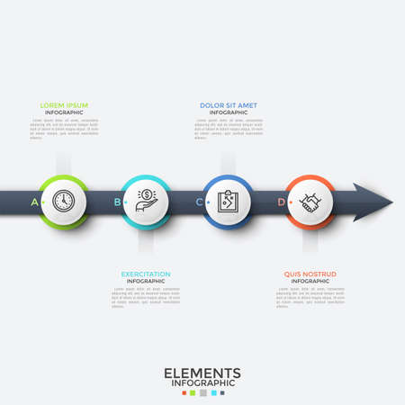 Horizontal arrow, four circular elements with thin line symbols inside placed on it and text boxes. Concept of 4 steps of progressive development. Infographic design template. Vector illustration. Ilustração