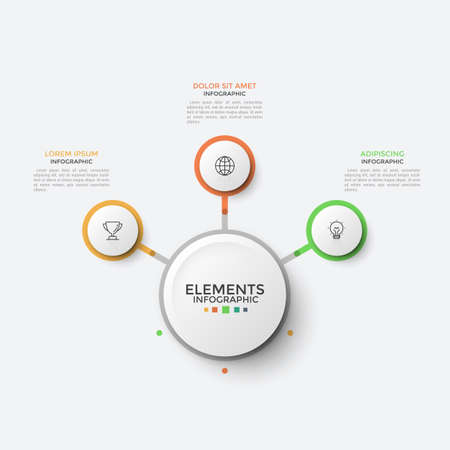 Flow chart with 3 paper white circular elements with thin line icons inside connected to main circle. Concept of three steps to business success. Infographic design template. Vector illustration.