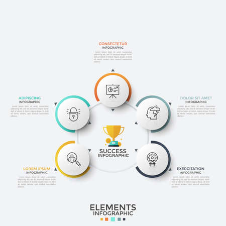 Five paper white round elements with thin line icons inside placed around main circle. Concept of 5 features of successful teamwork. Modern infographic design template. Vector illustration for report.