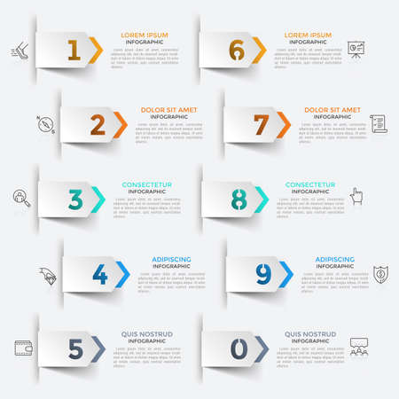 Ten paper white pointers with cut out figures arranged into 2 vertical rows pointing at linear icons and text boxes. Concept of list with 10 options. Infographic design template. Vector illustration.