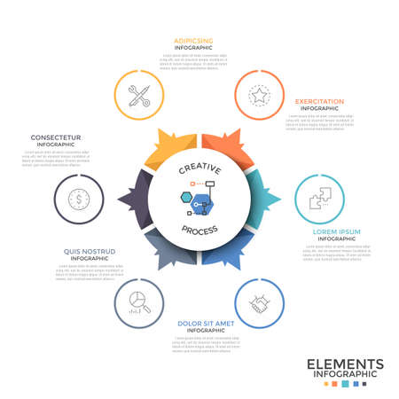 Circular diagram divided into 6 equal colorful pieces or sectors with arrows pointing at linear icons and text boxes. Unusual infographic design template. Vector illustration for brochure, report.