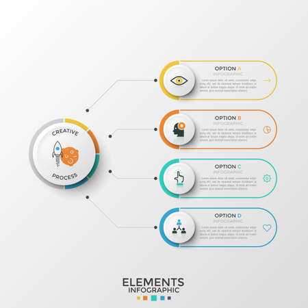 Four rounded elements with thin line icons and place for text inside connected to paper white circle. Concept of 4 features of business development. Infographic design template. Vector illustration. Ilustrace