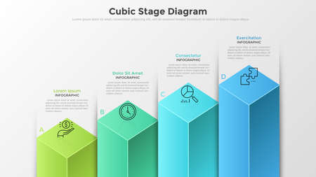 Bar chart or diagram with 4 colorful cubic columns, letters, thin line symbols and text boxes. Concept of four stages of business development. Modern infographic design template. Vector illustration. Illustration