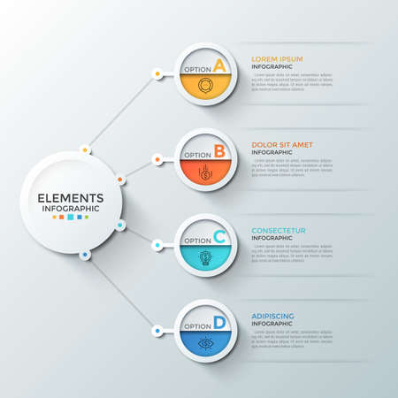 Four circular elements with thin line icons and letters inside connected to main paper white circle. Concept of 4 steps of financial development. Infographic design template. Vector illustration.