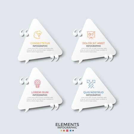 Collection of 4 paper white triangular speech bubbles, linear icons, place for text inside and quotation marks. Concept of four motivational phrases. Infographic design template. Vector illustration.