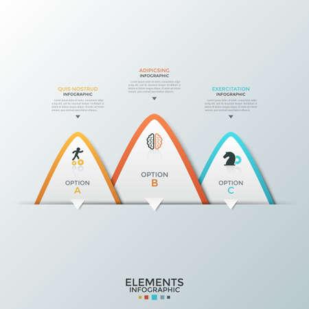 Drei übereinanderliegende weiße dreieckige Papierelemente mit flachen Symbolen im Inneren und Platz für Text. Konzept von 3 Geschäftsoptionen zur Auswahl. Infografik-Design-Vorlage. Vektorillustration für die Präsentation. Vektorgrafik