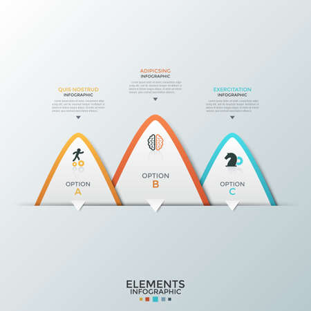 Drie overlappende papieren witte driehoekige elementen met platte pictogrammen erin en plaats voor tekst. Concept van 3 zakelijke opties om uit te kiezen. Infographic ontwerpsjabloon. Vectorillustratie voor presentatie. Vector Illustratie