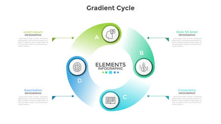 Gradient colored cyclical diagram with 4 round elements, thin line symbols, letters and text boxes. Concept of production cycle visualization. Modern infographic design template. Vector illustration. Çizim