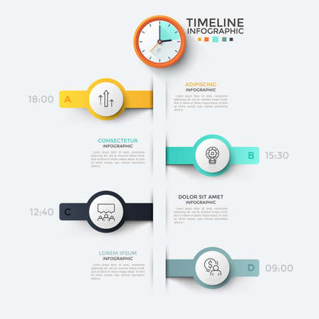 Vertical timeline or planner, 4 round elements with linear symbols inside, time indication, description and clock on top. Concept of daily planning. Infographic design template. Vector illustration. Stock Illustratie