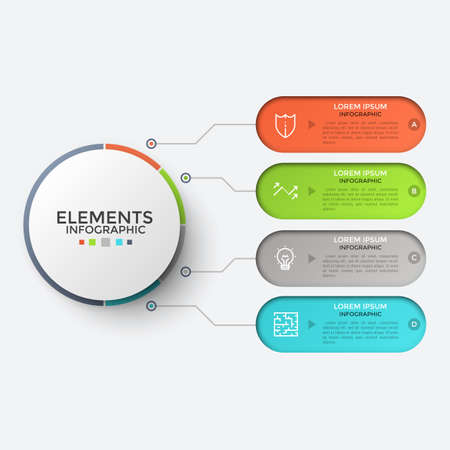 Four rounded elements with linear symbols and place for text inside connected to main circle by lines. Concept of 4 steps to business success. Unique infographic design template. Vector illustration. Ilustrace