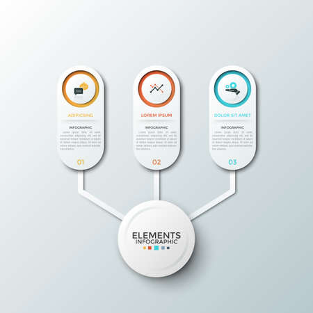 Three paper white rounded elements with flat symbols and place for text inside connected to circle in center. Concept of 3 features of startup project. Infographic design layout. Vector illustration.