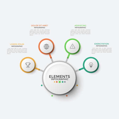Four paper white round elements with thin line icons inside connected to main circle. Concept of flowchart with 4 options to choose. Infographic design template. Vector illustration for brochure.