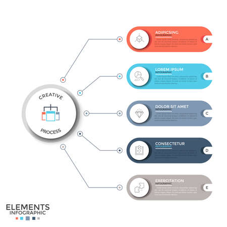 Five multicolored rounded elements with thin line icons and place for text inside connected by lines to main circle. Concept of 5 options to choose. Infographic design template. Vector illustration.