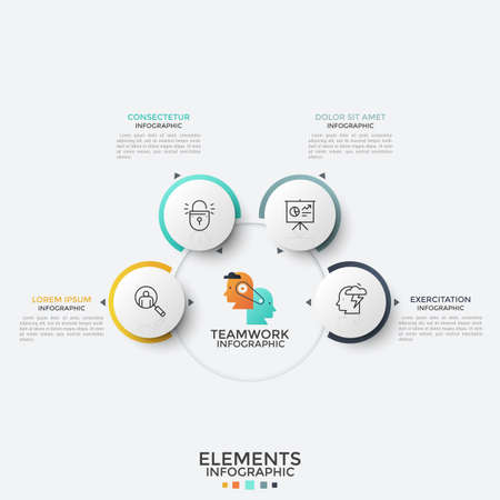 Four paper white round elements with thin line icons inside placed around main circle. Concept of 4 features of successful teamwork. Modern infographic design template. Vector illustration for report.