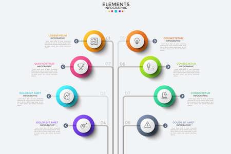 Ocho elementos redondos con pictogramas de líneas finas en el interior y cuadros de texto dispuestos en un diagrama de árbol. Concepto de 8 opciones comerciales. Plantilla de diseño de infografía moderna. Ilustración de vector de folleto.
