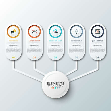 Five paper white rounded elements with flat symbols and place for text inside connected to circle in center. Concept of 5 features of startup project. Infographic design layout. Vector illustration.