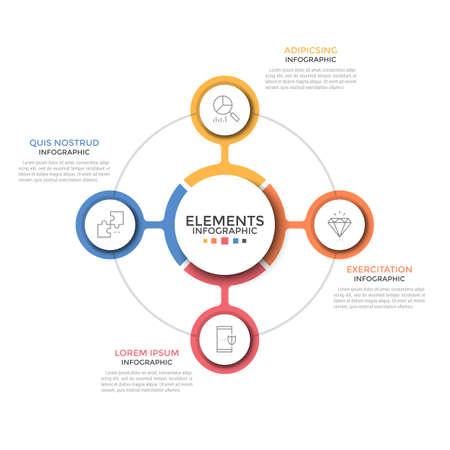 Round chart. Four colorful circular elements with thin line icons inside placed around central one. Concept of 4 business options to choose. Simple infographic design layout. Vector illustration. Illustration