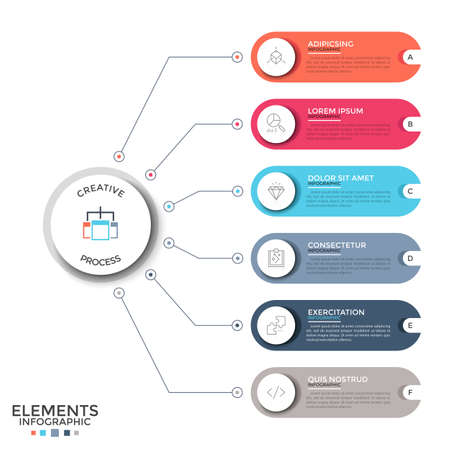 Six colorful rounded elements with linear signs and place for text inside connected by lines to paper white circle. Concept of 6 features of project. Infographic design layout. Vector illustration.