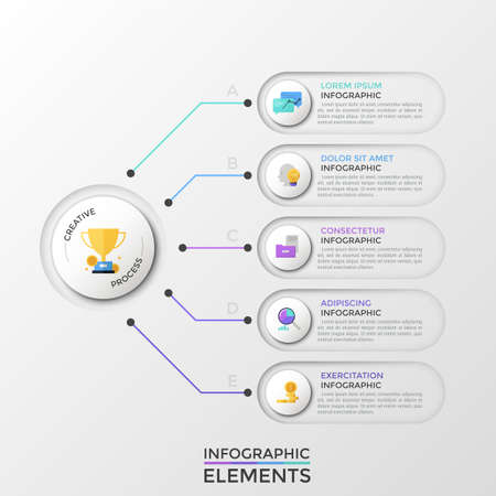 Five rounded elements with flat icons and place for text inside connected to main circle by colorful lines. Concept of 5 business characteristics. Infographic design template. Vector illustration. Ilustrace