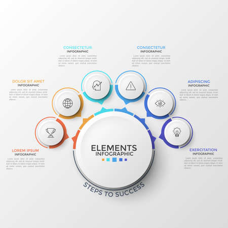 Six round elements with thin line pictograms inside and arrows pointing at main circle. Concept of circular web pop-up menu with 6 options. Modern infographic design template. Vector illustration.