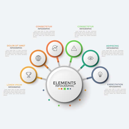 Six paper white circles with linear pictograms inside connected to central round element. Flower petal diagram with 6 options or characteristics. Infographic design template. Vector illustration.