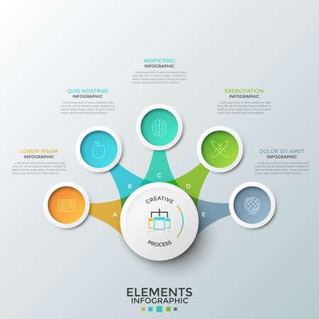 Cinque elementi circolari colorati con pittogrammi lineari all'interno disposti attorno al cerchio principale e ad esso collegati. Concetto di 5 opzioni tra cui scegliere. Layout di progettazione infografica creativa. Illustrazione vettoriale.