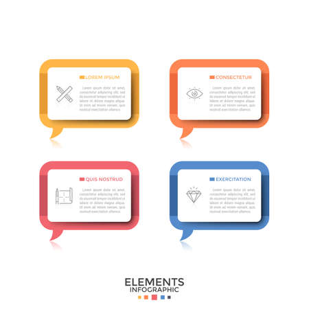 Four separate rectangular speech bubbles or balloons with thin line pictograms and place for text inside. Concept of 4 quotes or phrases. Creative infographic design template. Vector illustration. 일러스트