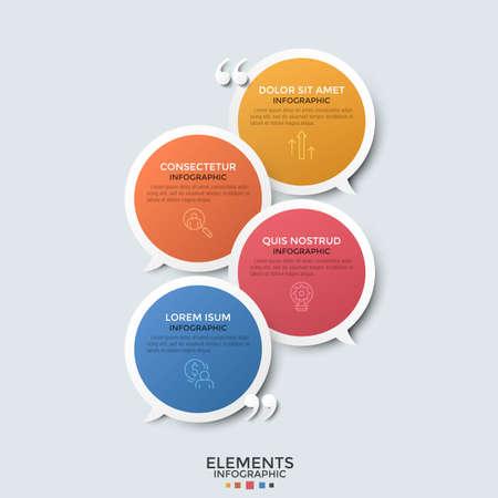 Quattro fumetti rotondi sovrapposti colorati, simboli di linee sottili, posto per testo e virgolette. Concetto di dialogo o conversazione. Modello di progettazione infografica moderna. Illustrazione vettoriale.