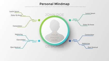 Hierarchical diagram with place for persons photo in center connected to text boxes by coloful lines. Concept of personal mind map or scheme. Flat infographic design template. Vector illustration.
