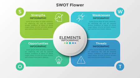 Four colorful elements with linear icons and place for text inside placed around circle. Concept of SWOT-analysis or strategic planning technique. Infographic design template. Vector illustration. Ilustração