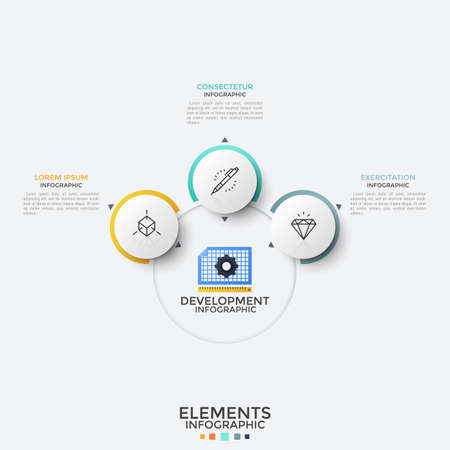 Three paper white round elements with thin line icons inside placed around main circle. Concept of 3 features of development. Modern infographic design template. Vector illustration for report.