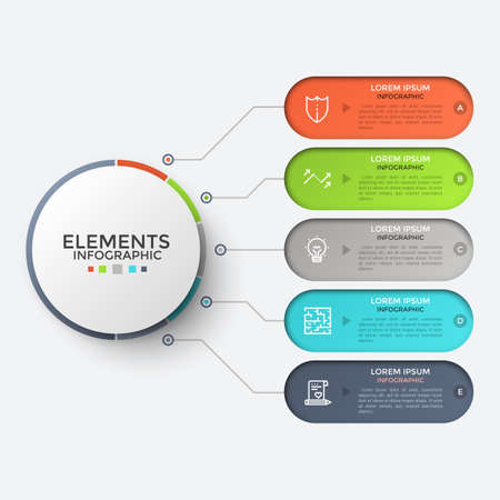 Five colorful rounded elements with linear icons and place for text inside connected to main circle by lines. Concept of 5 steps of development. Infographic design template. Vector illustration.