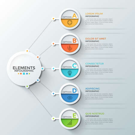 Five round elements with linear symbols and letters inside connected to main paper white circle. Concept of 5 business features or options to choose. Infographic design template. Vector illustration.