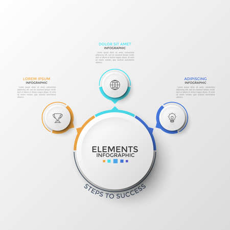 Three paper white circles with thin line icons inside and arrows pointing at main round element. Concept of 3 business development directions. Clean infographic design template. Vector illustration.