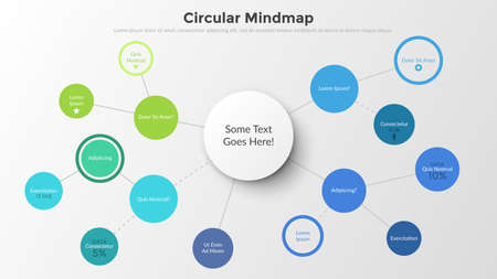 Mind map with round elements connected by coloful lines. Concept of schematic representation of information, data visualization. Infographic design template. Vector illustration for presentation.