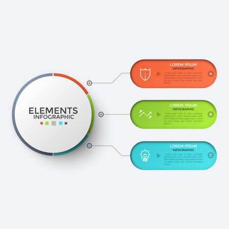 Three multicolored rounded elements with thin line symbols and place for text inside connected to central circle. Flow chart with 3 options to choose. Infographic design template. Vector illustration.