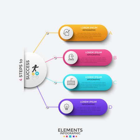 Main circle connected to 4 rounded elements with thin line icons and place for text inside. Concept of four steps to success. Modern infographic design template. Vector illustration for presentation.