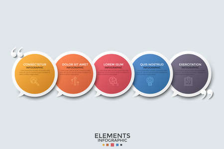 Five overlaying circular speech balloons arranged into horizontal row, thin line pictograms, place for text and quotation marks. Colorful infographic design template. Vector illustration for brochure.