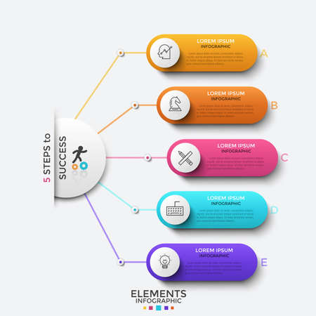 Circle connected to 5 rounded elements with linear symbols and place for text inside. Concept of five progressive steps of successful development. Infographic design template. Vector illustration.