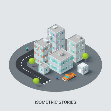 Isometric urban location map with living or residential buildings, road, cars, trees. Volumetric city plan or scheme with houses and streets. Modern infographic design template. Vector illustration.