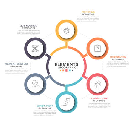 Flower petal round diagram. Six circular elements with thin line icons inside placed around main one. Concept of 6 features of business project. Infographic design template. Vector illustration.