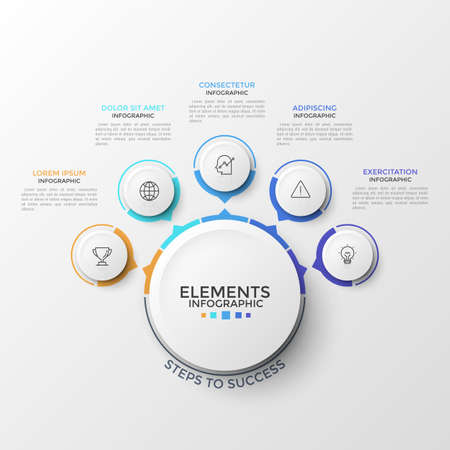 Five round elements with thin line pictograms inside and arrows pointing at main circle. Concept of circular web pop-up menu with 5 options. Modern infographic design template. Vector illustration.