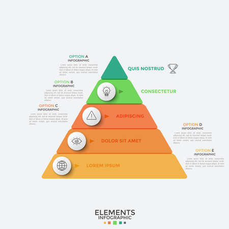 Triangle divided into 5 colorful horizontal parts, thin line pictograms and text boxes. Concept of hierarchy with five levels. Infographic design template. Vector illustration for presentation. Stock Illustratie