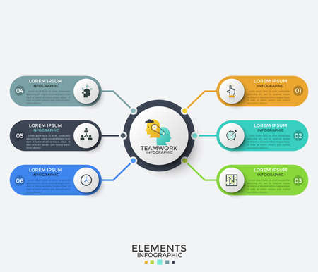 Main circle in center surrounded by 6 rounded elements with linear pictograms and place for text inside. Concept of 6 features of successful project. Infographic design template. Vector illustration. Ilustrace