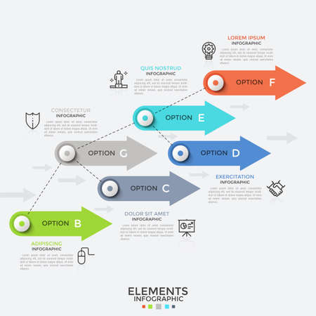 Six colorful arrows arranged into flow chart, thin line symbols and text boxes. Concept of 6 directions of business development. Infographic design template. Vector illustration for presentation. Vector Illustratie